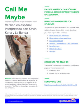 Call Me Maybe in Spanish: Song to Practice Listening Comprehension & Accent Mark