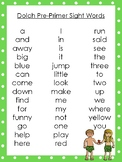 6 Adam and Eve themed Dolch Sight Word Lists. Preschool-3rd Grade Reading