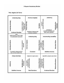 6 Algebra 9 square activities
