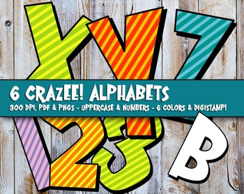 "6 Alphas in Wild & Crazee Stripes! - 300 DPI, 3"" High, 6-36 page PDFs - 216 PNGs"