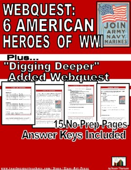WWI: 6 American Heroes: History Channel WebQuest (18 P., Ans. Key, $5)