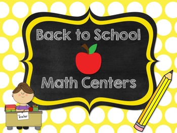6 Back to School Math Centers Freebie
