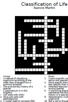 6 Biology Crosswords - Classification of Life with answer keys