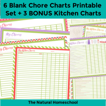 photo regarding Chores Printable identified as 6 Blank Chore Charts Printable Preset + 3 Reward Kitchen area Charts