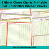 6 Blank Chore Charts Printable Set + 3 BONUS Kitchen Charts