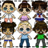 6 COLORED Cute ClipArt Characters