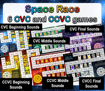 6 CVC and CCVC Literacy Rotation Board Games - Differentiated, Low Prep