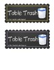 6 Chalkboard Style Table Trash Can Labels
