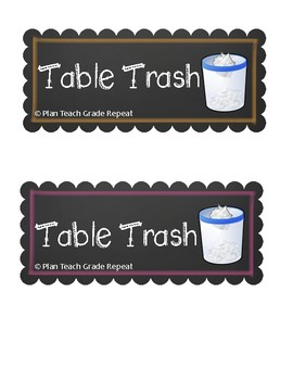 6 Chalkboard Style Table Top Trash Can Labels
