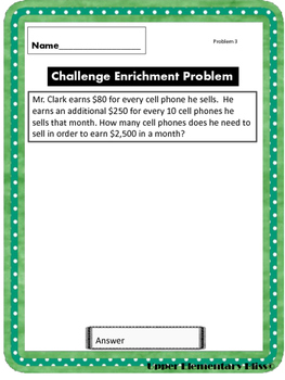 6 Challenging Math Problems for Your Gifted 5th graders FREEBIE