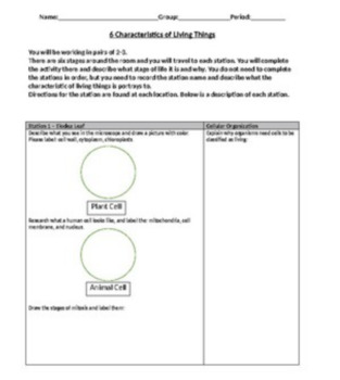 6 Characteristics of Living Things Station Labratory