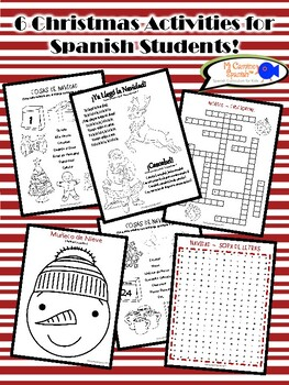 6 Christmas Activities for Spanish Students! (Just print!)