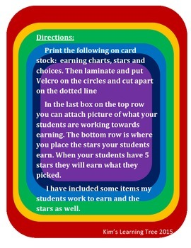 6 Colored Student Earning Charts
