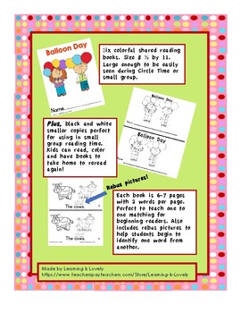6 Colorful Shared Reading Emergent Readers Level 1A (Beginning KDG)