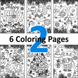 6 Coloring Pages, Set 2, Winter and Holidays, CU