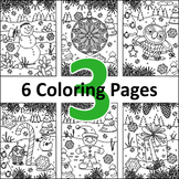 6 Coloring Pages, Set 3, Winter and Holidays, CU