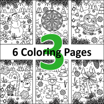 6 Coloring Pages, Set 3, Winter and Holidays, Non-CU