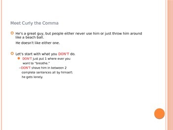 6 Comma Rules in 1 PPT: MEET CURLY THE COMMA!!