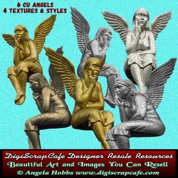6 Commercial Use Vintage Angels png transparent gold bronze pewter stone images