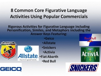 8 Common Core Activities for Figurative Language in Commercials w/Answer Key