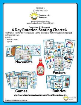 6 Day Teacher Binder Organization Packet For Seating Charts Bundle Free!