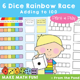 Addition Game - 6 Dice Rainbow Race - Adding 1, 2 & 3 Digits