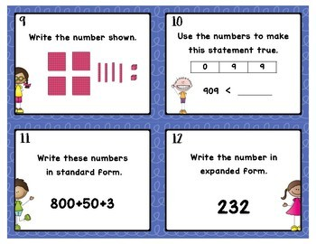 Place Value Task Cards to 6 digits