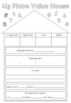 Place Value House Worksheet (4, 5 and 6 digit)