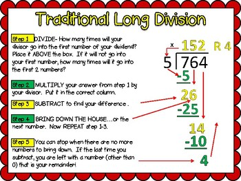 6 Division Math Center Games 2, 3, and 4 digit Traditional and Area Model