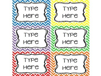 6 EDITABLE Chevron Labels / Tags