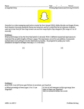 6 EE 1-4, 6 RP 3 - A Snapchat Story - Problem Solving by J Peck | TpT