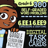 6.EE.1-6.EE.9   6th Grade Math Review Digital Task Cards for Google Classroom™