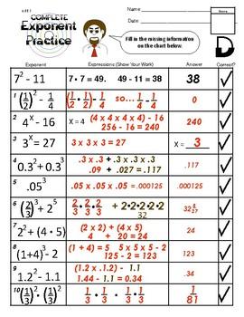 6.EE.1 Complete Exponent Practice.