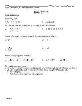 6.EE.1 Exponents - Meaning of a Number Raised to a Power