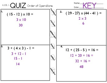 6.EE.1  Order of Operations Quiz