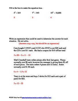 6.EE.1 Order of Operations and Exponents