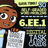 6.EE.1 Task Cards (Digital) ✦ INTRO TO EXPONENTS ✦ 6th Grade Google Classroom™