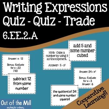 6.EE.2.A Writing Expressions Quiz Quiz Trade