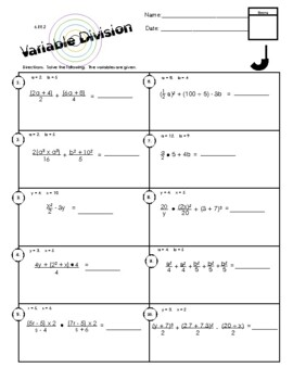 6.EE.2 Variable Division