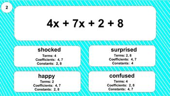 6.EE.2b Digital Mad Lib Math Activity (Identify Parts of Expressions)