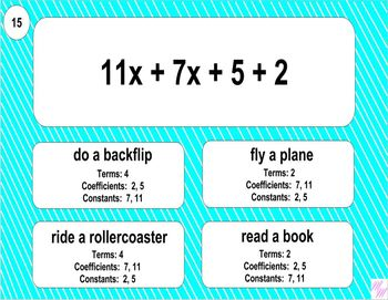 6.EE.2b Printable Mad Lib Math Activity (Identify Parts of Expressions)