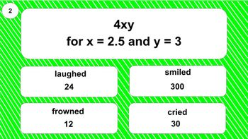 6.EE.2c Digital Mad Lib Math Activity (Evaluate Expressions)