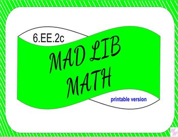 6.EE.2c Printable Mad Lib Math Activity (evaluate expressions)