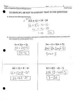 6.EE.3,4 Simplifying Algebraic Expressions - Distributive Prop + Combining Terms