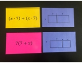 6.EE.3, 6.EE.4 Identifying Equivalent Expressions - Area Models (Matching Game)