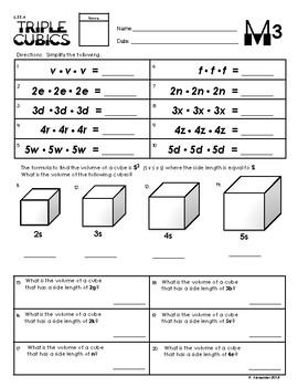 6.EE.3 & 6.EE.4 Triple Cubics