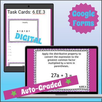 ⭐ GOOGLE CLASSROOM ⭐ 6.EE.3 Task Cards ⭐ Generate Equivalent Expressions