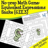 6.EE.3 No-prep Math Game: Equivalent Expressions Snake