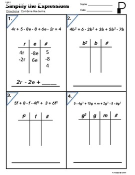 6.EE.4  Simplify The Expressions