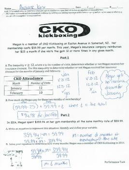 6.EE.5 & 6.EE.7 - Inequalities & Write/solve Add./Sub. Equation Performance Task